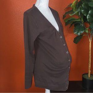 Liz Lange Maternity Brown Snap Up Cardigan Large